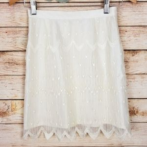 Lace Cream Pencil Mini Skirt
